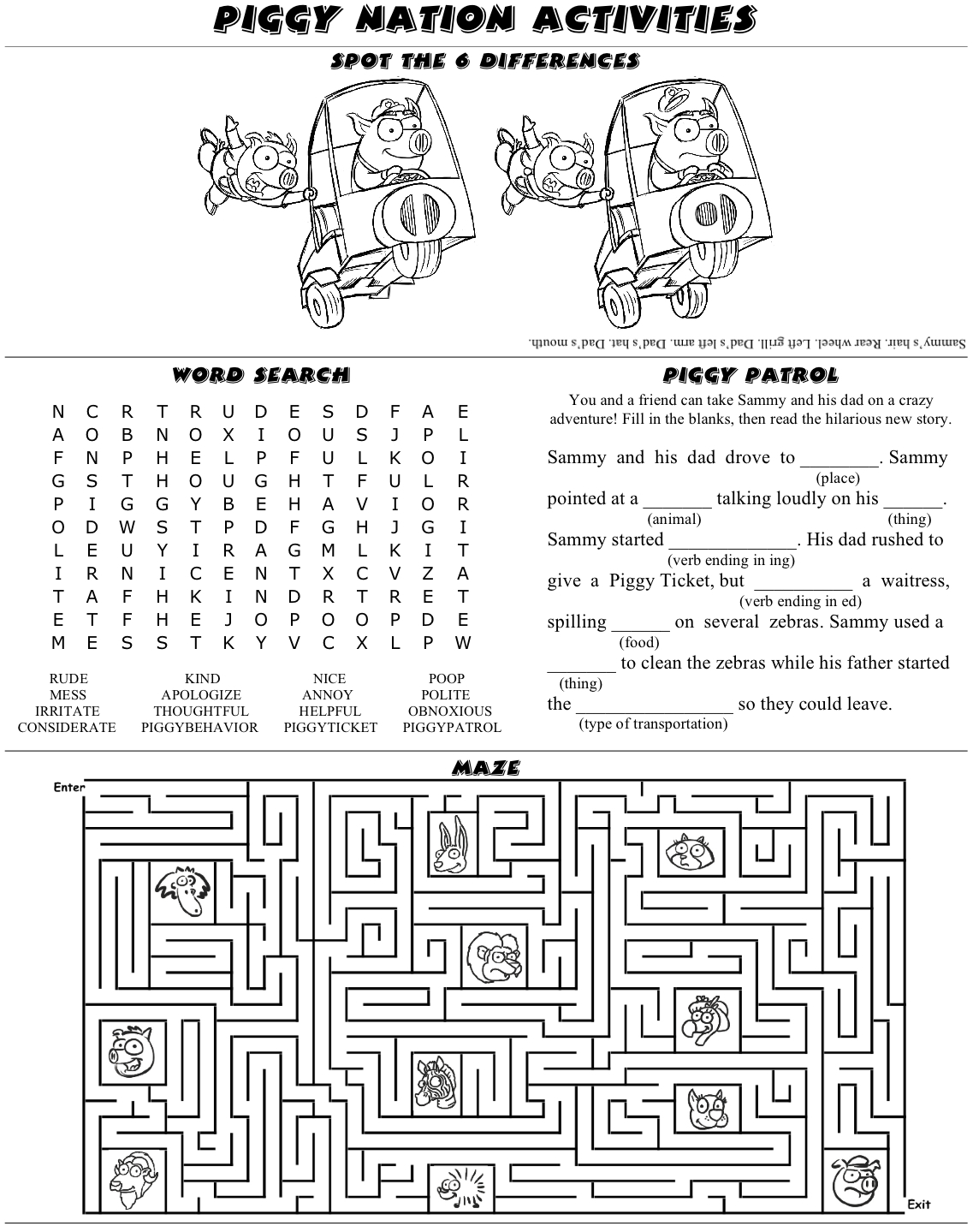 Activity Sheet 187 Piggy Nation Children S Colouring Activity Sheets